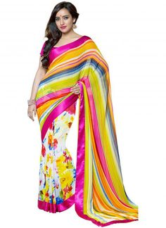 Shades of Yellow and Pink Color Georgette Party Wear Sarees : 2-in-1 Collection YF-23172
