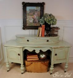 color - annie sloan  I started this vanity's makeover with a coat of Old White, followed by a coat of 3 parts Old White/1 part Duck Egg Blue.  From there I tapped into my new found knowledge of furniture waxing tips and tricks, thanks to a few extra helpful tutorials from sweet and generous bloggers (see my Paint it Annie! Pinterest Board for links!)  First an overall coat of clear wax, then dark, followed by clear again...and then a whole lot of buffing!  And here is the finished product...