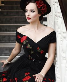 Over the shoulder black rose vintage dress