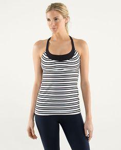 Scoop Me Up Tank in twin stripe black/black