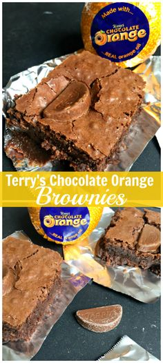 The Best Ever Chocolate Fudge Brownies - made even better with Terry's Chocolate Orange segments! These easy Terry's Chocolate Orange Brownies are soo good! Orange Brownies, Chocolate Fudge Brownies, Fudge Cake, Terry's Chocolate Orange, Chocolate Butter, Decadent Chocolate, Sweets Cake, Sweet And Salty, Cookie Bars