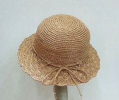 crocheted girl's sun hat,raffia straw sun hat in nature ,lace brim sun hat