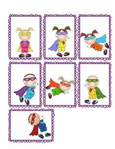 Superhero Name Tags - Small Rectangle Superhero Name Tags, Superhero Kids, Superhero Classroom Decorations, Classroom Themes, Kids Graphics, Preschool, Clip Art, Kids Rugs, Taxi