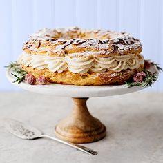 Paris-Brest Cake // This light, almond-y French pastry is worth the effort—trust us. #hannafordfresh