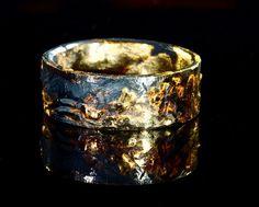 Unique mens wedding band gold silver, Mens Gold Wedding Ring Black Unique Viking Rustic