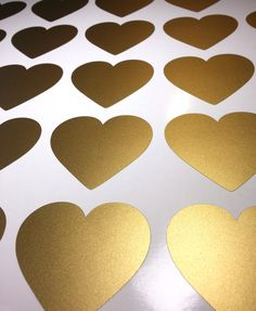 Peel and Stick Metallic Gold Heart Wall Decals | Long Life | Apartment Safe by PolkaDotWallStickers on Etsy https://www.etsy.com/listing/243395963/peel-and-stick-metallic-gold-heart-wall