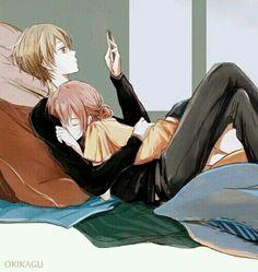Imagen de okikagu, anime, and gintama Anime Couples Cuddling, Manga Couples, Couple Manga, Anime Love Couple, Cute Anime Couples, Couple Cuddling, Anime Couples Sleeping, Couple Hugging, Couple Art