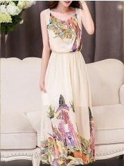 Lovely Round Neck Floral Printed Maxi-dresses