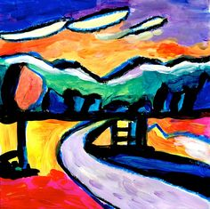 From a photo of a simple landscape, I tried to inspire my paintings in the style of Kandinsky. He painted many landscapes, where it is recognizable the style that characterizes his abstract paintin...