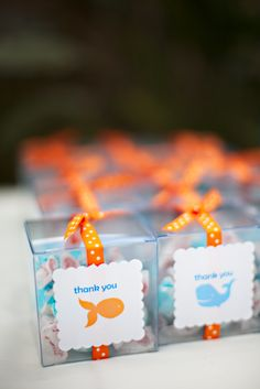 Salt water taffy in a box for favors- perfect for beach wedding