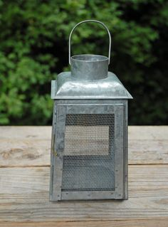 Chicken Wire Galvanized Metal Candle Lanterns - maybe on shepherds hook down the aisle
