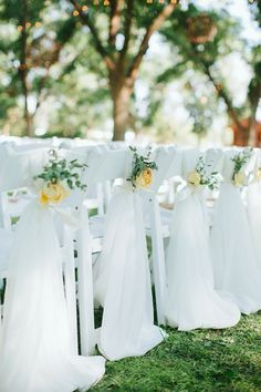 beautiful fabric treatment for the last row of ceremony chairs | Jen Dillender #wedding