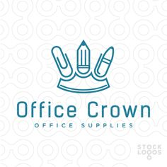 Logo design with concept of royal crown formed out of paper clip, pencil and pen. Related keywords: blue, memorable, modern, simple, creative and similar.