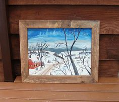 "Oil Painting on Canvas, Primitive Snow Scene Painting, Farmyard in the Snow Painting, ""After The Snow"", Limestone Maine Painting Snow, Oil Painting On Canvas, Bare Tree, Cottage Art, Snow Scenes, Canvas Board, Farm Yard, Love Art, Paint Colors"