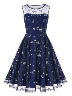 Women Retro Moon Stars Embroidered Mesh Insert Dress Vintage Summer Sleeveless A-line Dress Lady Mini Party O-neck Lace Dress Cute Prom Dresses, Pretty Dresses, Homecoming Dresses, Beautiful Dresses, Short Dresses, Dresses Dresses, Robes Vintage, Vintage Dresses, Teen Fashion Outfits