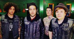 """Fall Out Boy I love the fact that they're all wearing matching jackets and then Andy just like """" no, I must be SHIRTLESS """""""
