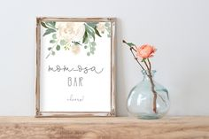 Mom-osa Bar Sign Printable, Champagne Bar Sign, White Floral Shower, Bubbly Bar, 8x10 Sign, 5x7 Sign, Instant Download, Greenery Shower, P10 Bubbly Bar, Champagne Bar, Party Signs, Etsy App, Bubbles, Place Card Holders, Printables, Baby Shower, Shower Ideas