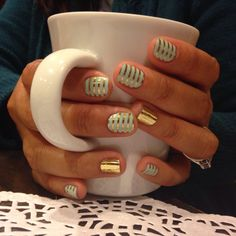 Mint green gold horizontal pin stripe and mirror metallic gold jamberry nails To shop/order, please go to http://Samanthabell.jamberrynails.net