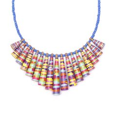 Candy stripes colorful necklace  Boho jewelry  Colorful