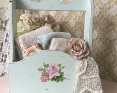 Shabby Magazine Rack, Wall Caddy with pink rose, Chippy distressed mint green Shabby cottage chic, svfteam