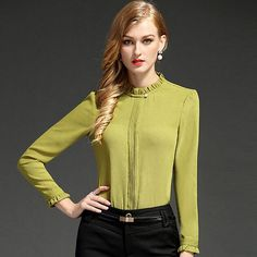 Slim fashion OL career shirt women's high quality elegant stand collar long-sleeve chiffon blouse offce ladies plus size tops