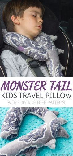 Sewing Pillows Your kids are going to love their Monster Tail Kid's Travel Pillow! Easy to sew with free printable pattern. - Your kids are going to love their Monster Tail Kid's Travel Pillow! Easy to sew with free printable pattern. Sewing Basics, Sewing Hacks, Sewing Tutorials, Sewing Tips, Sewing Ideas, Kids Travel Pillows, Kids Pillows, Sewing Classes For Beginners, Sewing Projects For Beginners