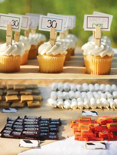 outdoor-party-desserts for birthday (dirty thirty theme) 30th Party, Adult Birthday Party, 30th Birthday Parties, Birthday Ideas, Camping Parties, Camping Theme, Get The Party Started, Party Desserts, Party Entertainment