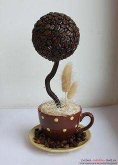 Как сделать топиарий из кофейных зерен своими руками, пошаговые фото, подробная…