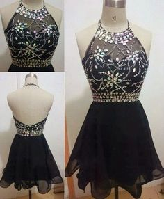 Backless Prom Dress with Beading ,Fashion Homecoming Dresses,Party Dress with Beading,Black Homecoming Dresses,Short Tulle Homecoming Dresses