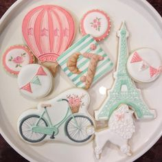 Parisian Hot Air Balloon & Bunting Cookies