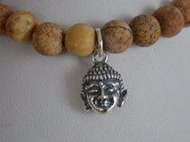 Armband Buddha Naturstein Perlen, Sterling Silber