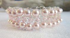 Pale pink & silver knitted bracelet, summer, wedding £11.50
