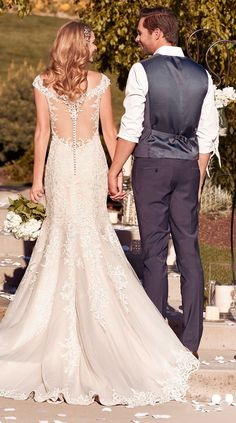 Rebecca Ingram - NANCY, Shimmering lace motifs cascade over tulle in this classic fit-and-flare wedding dress.