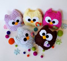 2 baby pink and blue mini owls, you can choose any colors you want. $16.50, via Etsy.