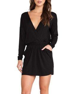 Black Long Sleeved Shift Dress - Deep V Neckline / Self Tie at Waist with Side Pockets