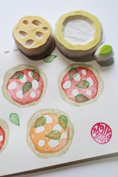 pizza rubber stamps. italian hand carved rubber by talktothesun