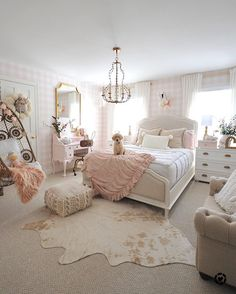 pink gingham wallpaper, hide rug, pink and gold girl room Gold Euro shams and a knit pillow from HomeGoods help add a cozy touch to this pink and white girls bedroom. Cute Bedroom Ideas, Girl Bedroom Designs, Bedroom Ideas For Tweens, Girls Room Design, Room Decor For Girls, Girls Pink Bedroom Ideas, Elegant Girls Bedroom, Preteen Girls Rooms, Light Pink Bedrooms