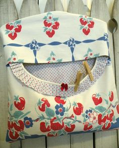 Clothes pin bag Strawberry Strawberries by PrairieFarmGoods2