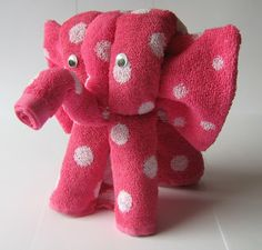 Tutorial Elephant - folding (bathing) towels! Cute idea! Jolanda's Crea-Blogg: Tutorial Olifant . . handdoek-vouwen