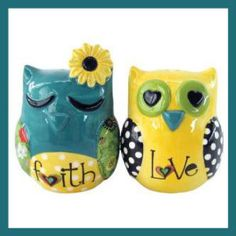 Westland Giftware Ceramic Magnetic Salt and Pepper Shaker Set, Amylee Weeks Faith and Love Owls, 2.75-Inch, Set of 2 The set was designed by artist Amylee Weeks. It is a great collector's gift. It is not dishwasher or microwave safe. http://theceramicchefknives.com/ceramic-salt-pepper-shakers/