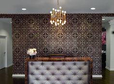 Salon Reception Desk Mix of Modern Zen, Gold & Damask Accent
