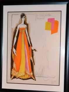 From my collection of original vintage costume designer fashion sketches, an original signed Donfeld sketch of a dress created for Mrs. Nick Hilton in the 1960s with fabric swatches