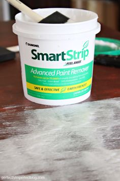 Smart Strip (available at Sherwin Williams). It's green (meaning if it gets on you, you simply wash it off–no scary flesh-eating nightmare to deal with), removes up to 15 layers of paint, AND it stays wet for 24 hours. Stripping Furniture, Painted Furniture, Stripping Paint, Furniture Makeover, Diy Furniture, Green Furniture, Paint Stripper, My New Room, Painting Tips