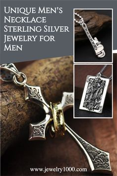 Unique designed sterling silver necklace for men. Made of genuine solid 925 silver, sold at affordable wholesale prices. Perfect gifts for boyfriend or husband on Valentine's Day! #Jewelry1000 #sterlingsilverjewelry #menssilvernecklace #menscross #bikernecklace #skullnecklace #silvernecklaceformen #giftforhim #valentinesdaygift
