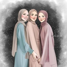 Friend Cartoon, Girl Cartoon, Cartoon Art, Islamic Cartoon, Girly M, Anime Muslim, Hijab Cartoon, Islamic Girl, Girly Drawings