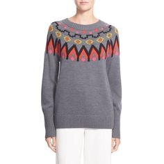 Trink Turk 'Addy' Fair Isle Merino Wool Pullover ($298) ❤ liked on Polyvore featuring tops, sweaters, grey multi, pullover sweater, sweater pullover, print sweater, grey sweater and grey crew neck sweater