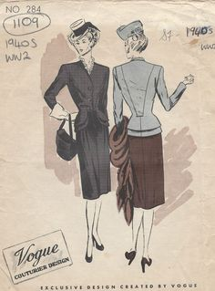 1940s WW2 Vintage VOGUE Sewing Pattern B34 SUIT-JACKET & SKIRT (1109)