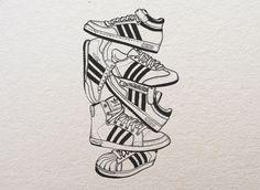 Adidas illustration on Behance Outline Drawings, Art Drawings, Adidas Drawing, Sketch Manga, Shoe Poster, Sneaker Art, Adidas Fashion, Vintage Adidas, Shoe Art