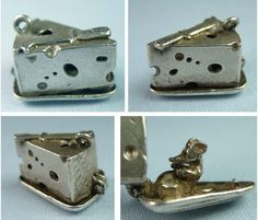 Vintage silver block of swiss cheese charm opens to a plump mouse - sold for 90 usd
