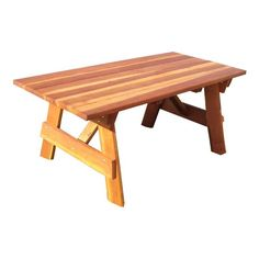 Best Redwood Outdoor Farmers Picnic Table - PTAB-7RC112UHNS